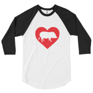 I Heart Mini Pigs 3/4 sleeve raglan shirt