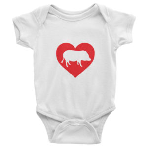 I Heart Mini Pigs Infant short sleeve one-piece