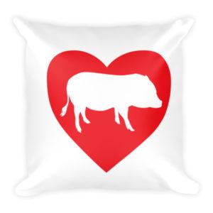 I Heart Pigs Pillow