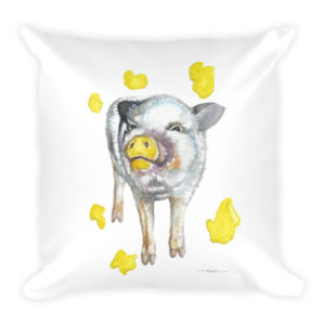 Painting Pig Square Pillow