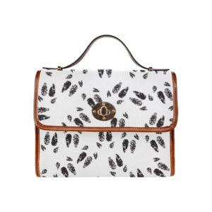 Hoof Print White Leather Handbag Waterproof Canvas Bag (Model1641)