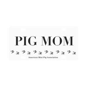 Pig Mom White Hoof Print Classic License Plate