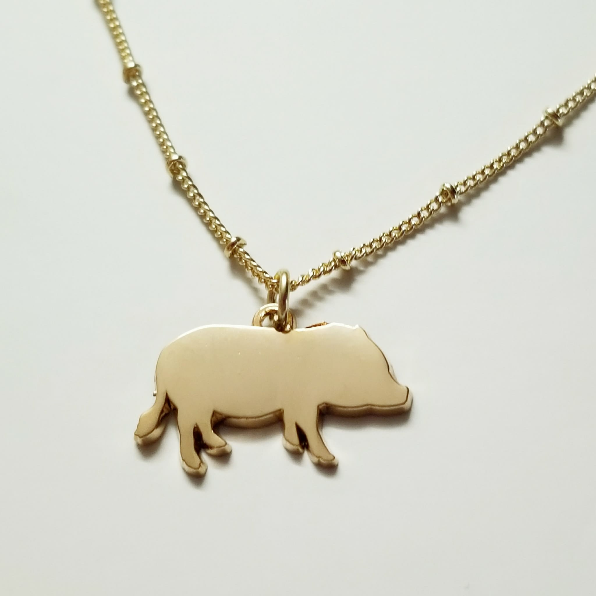Pig Charm Bracelet: Mini Pig Necklace Or Charm In Silver Or Gold Plated