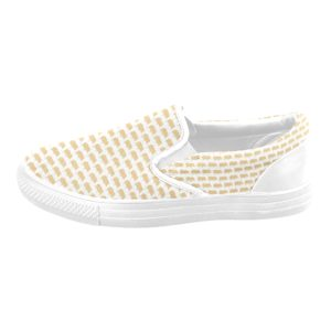 Gold Pig White Slip on Tennis Shoe Slip-on Canvas Kid's Shoes(Model019)