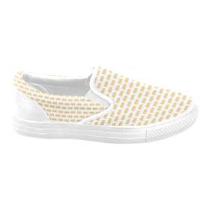 Gold Pig White Background Ladies Slip On Slip-on Canvas Shoes for Women(Model019)