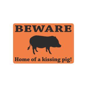 """Home of Kissing Pig Doormat Orange Doormat 23.6"""" x 15.7"""""""