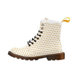 Gold Pig White Background Ladies Marten Army Boot Martens Leather Women's Boots (Model402H)