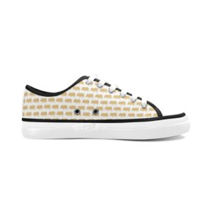 Gold Pig White Background Ladies Tennis Shoes Women's Nonslip Canvas Shoes(Model001)
