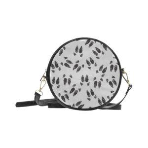 Black Hoof Print Round Bag Round Messenger Bag (Model1647)