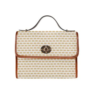 Gold Pig White Leather Handbag Waterproof Canvas Bag (Model1641)