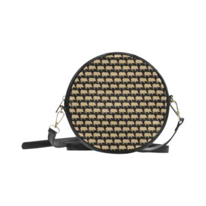 Gold Pig Black Round Bag Round Messenger Bag (Model1647)
