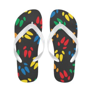 Colored Hoof Print Black Sole Flip Flops Flip Flops (For both Men and Women) (Model040)