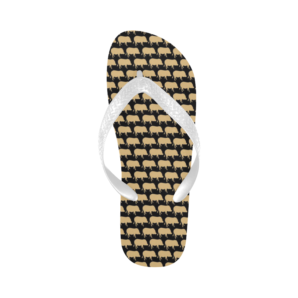 Gold Pig On Black White Flip Flop Flip Flops For Both Men -4998