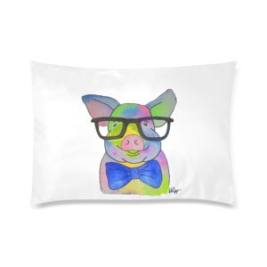 """Mini Pig in Glasses Pillowcase Rectangle Pillow Case 20""""x30""""(One Side)"""
