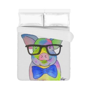 "Mini Pig in Glasses Duvet Cover Duvet Cover 86""x70"" (One Side) All-over-print"
