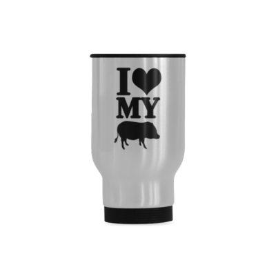 I Love My Pig Travel Mug(Sliver) (14 Oz)