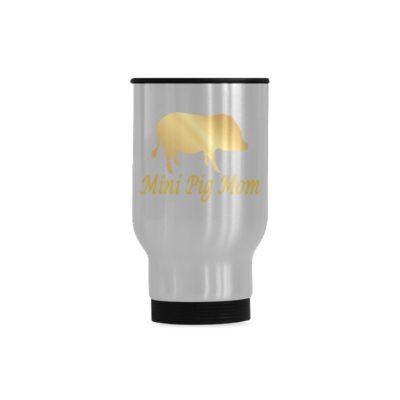 Mini Pig Mom gold Travel Mug(Sliver) (14 Oz)