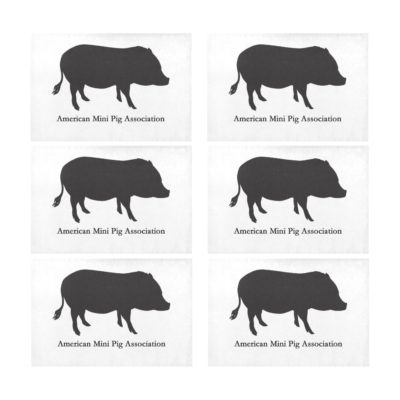 "American Mini Pig Black Placemats 12"" x 18"" (Set of 6)"