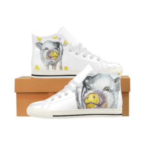 Painting Pig 5 Aquila High Top Action Leather Women's Shoes (Model027)