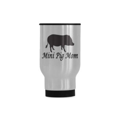 Mini Pig Mom Travel Mug(Sliver) (14 Oz)