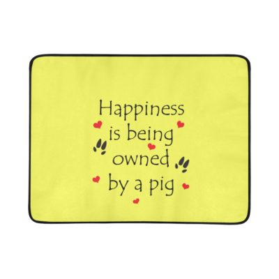 """Happiness is being owned by a pig Portable & Foldable Training Beach Mat 60""""x 78"""""""