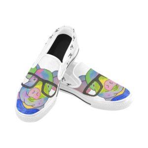 Glasses Pig Hooves Slip-on Canvas Kid's Shoes(Model019)