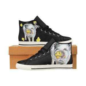 Painting Pig 3 Aquila High Top Action Leather Women's Shoes (Model027)