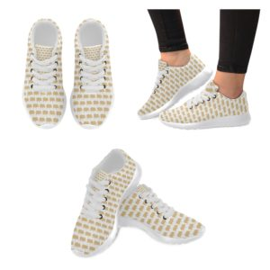 Gold Pig White Background Running Women's Shoes (Model020)