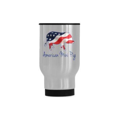 American Flag Mini Pig Travel Mug(Sliver) (14 Oz)