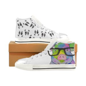 Glasses Pig With Hooves Aquila High Top Canvas Kid's Shoes (Model017)