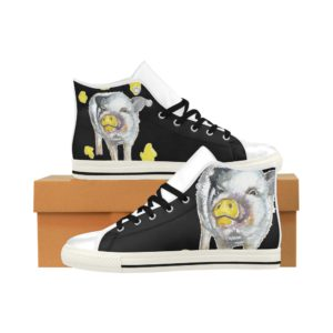 Painting Pig 4 Aquila High Top Action Leather Women's Shoes (Model027)