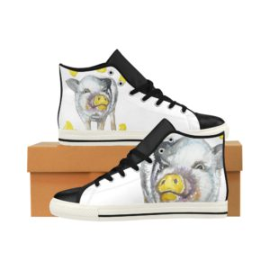 Painting Pig 6 Aquila High Top Action Leather Women's Shoes (Model027)