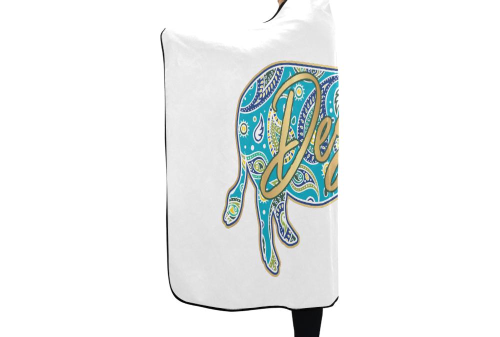 """Full-Color-Destin Hooded Towel White Hooded Blanket 80""""x56"""""""